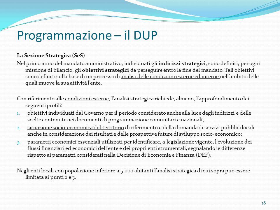 Programmazione – il DUP