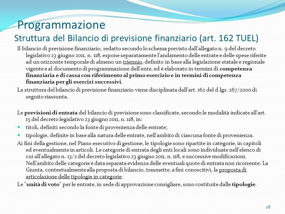 Programmazione Struttura del Bilancio di previsione finanziario (art