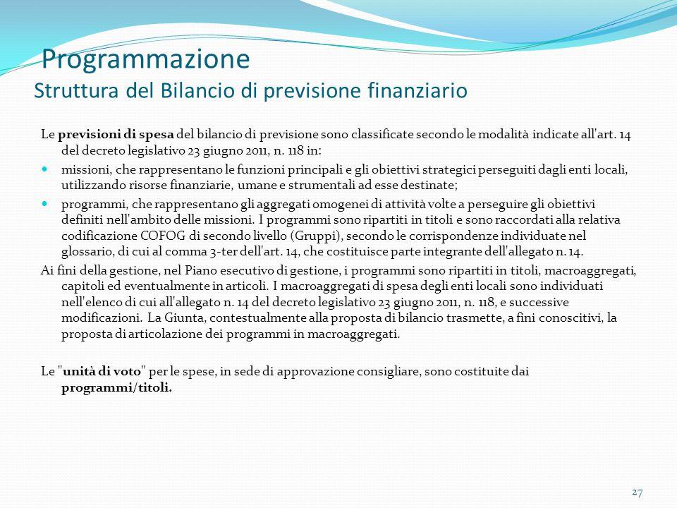 Programmazione Struttura del Bilancio di previsione finanziario