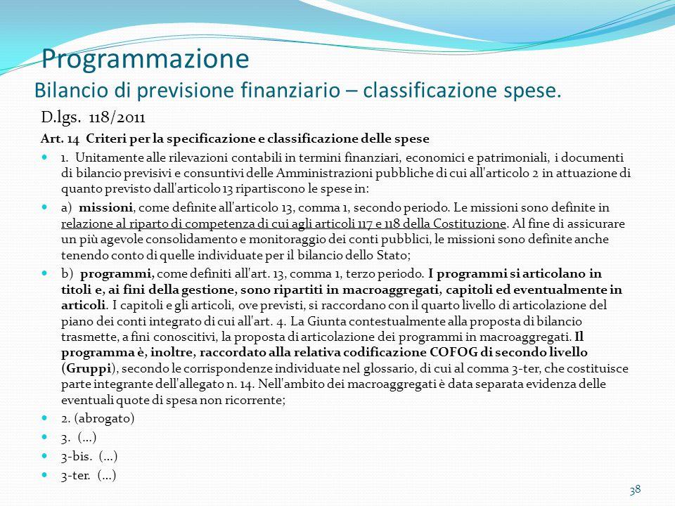 Programmazione Bilancio di previsione finanziario – classificazione spese.