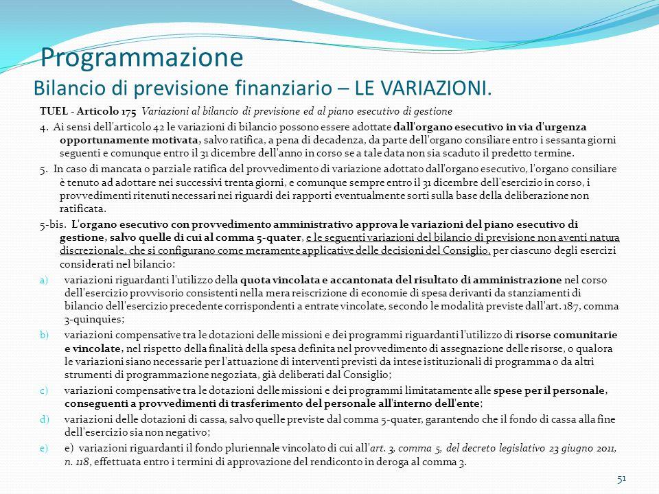 Programmazione Bilancio di previsione finanziario – LE VARIAZIONI.