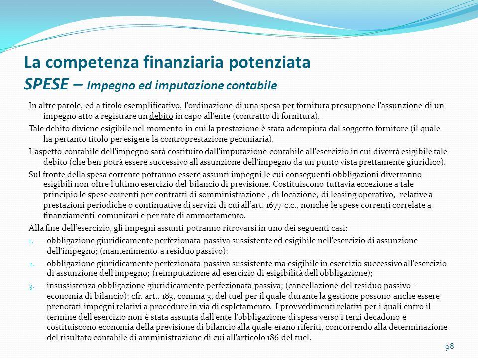 La competenza finanziaria potenziata SPESE – Impegno ed imputazione contabile