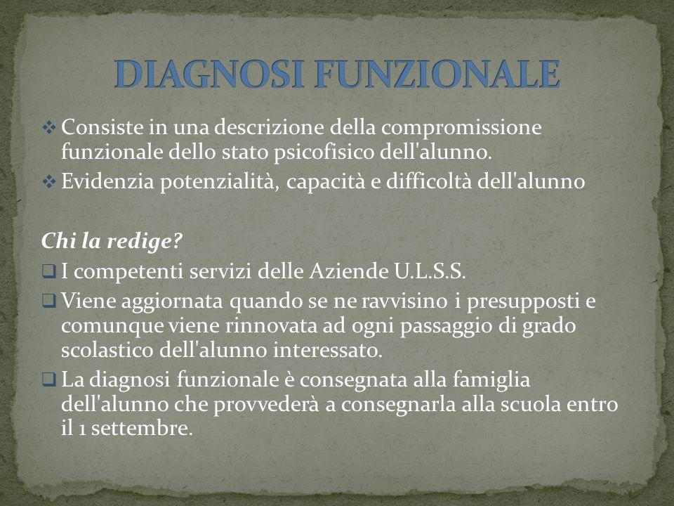 DIAGNOSI FUNZIONALE Consiste in una descrizione della compromissione funzionale dello stato psicofisico dell alunno.