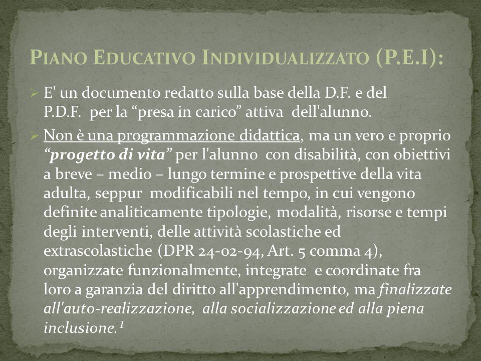 Piano Educativo Individualizzato (P.E.I):