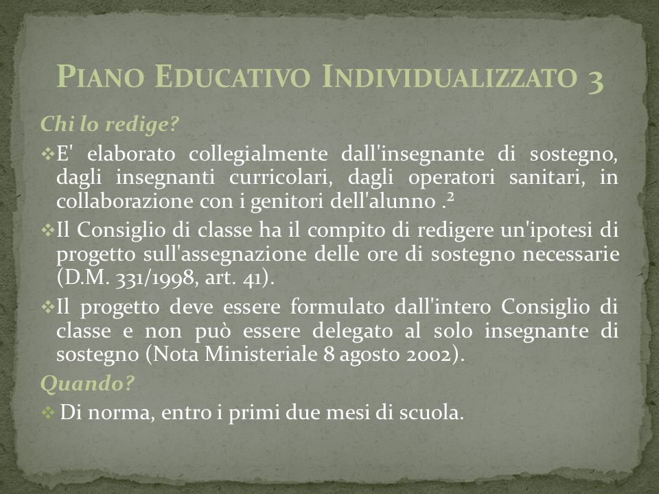 Piano Educativo Individualizzato 3
