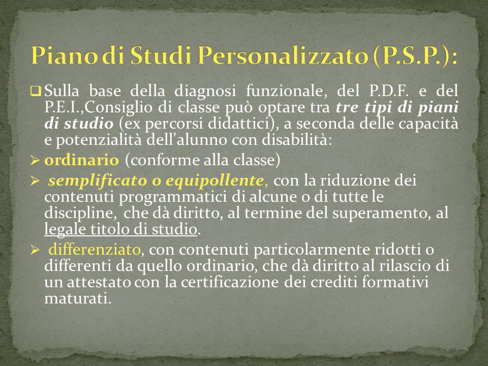 Piano di Studi Personalizzato (P.S.P.):