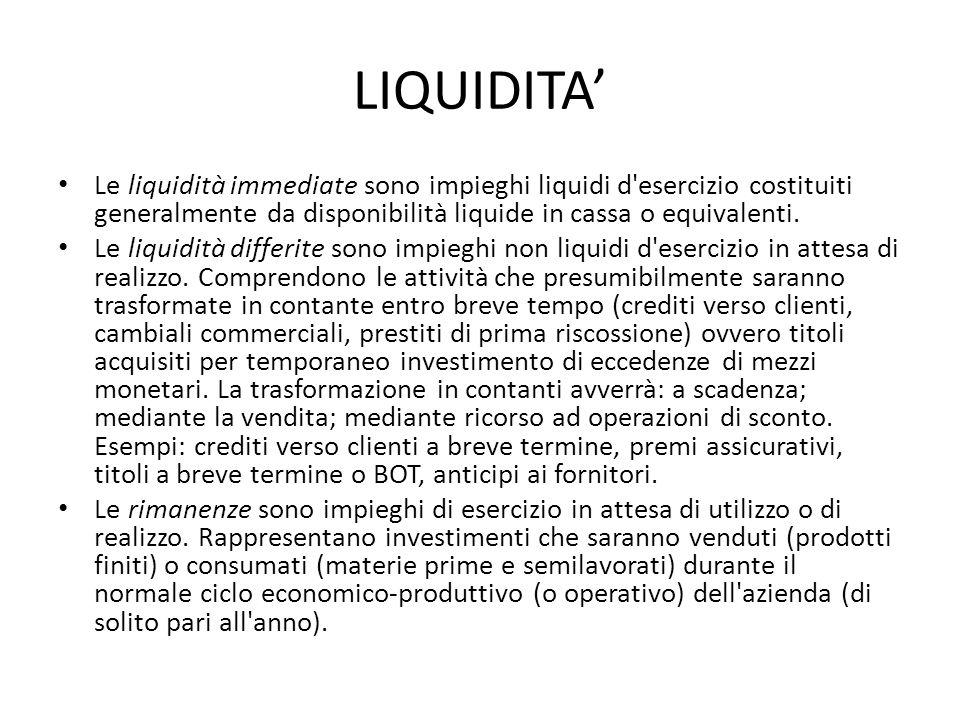 LIQUIDITA' Le liquidità immediate sono impieghi liquidi d esercizio costituiti generalmente da disponibilità liquide in cassa o equivalenti.