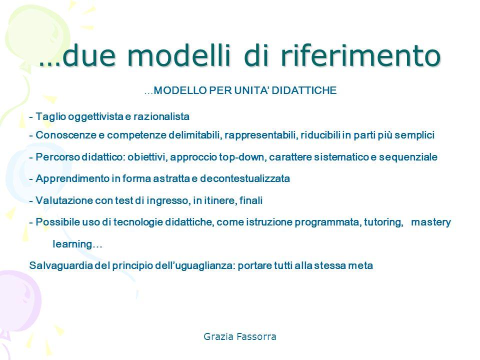 …due modelli di riferimento