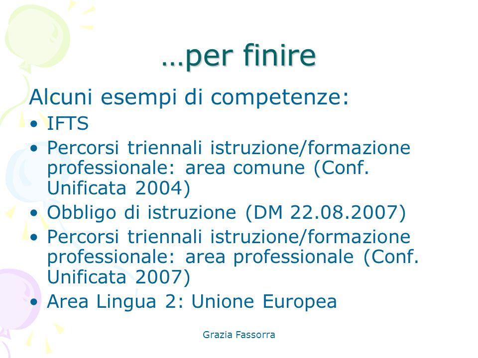 …per finire Alcuni esempi di competenze: IFTS
