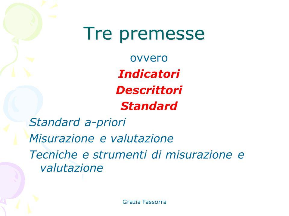 Tre premesse ovvero Indicatori Descrittori Standard Standard a-priori