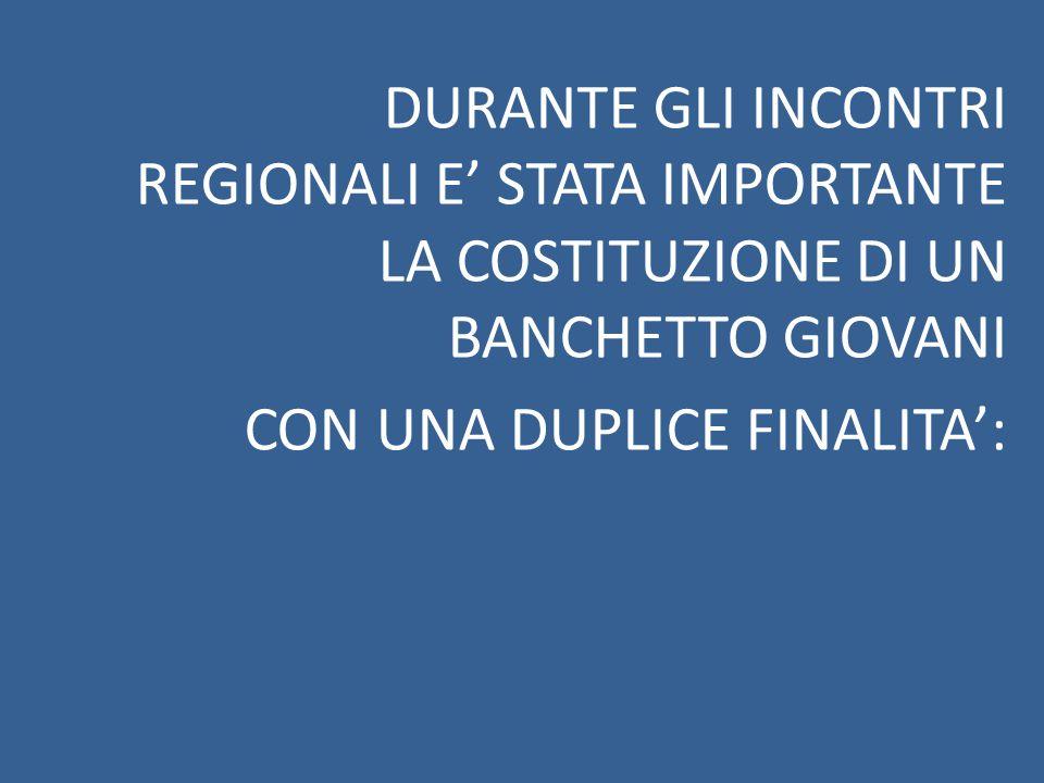 DURANTE GLI INCONTRI REGIONALI E' STATA IMPORTANTE LA COSTITUZIONE DI UN BANCHETTO GIOVANI CON UNA DUPLICE FINALITA':