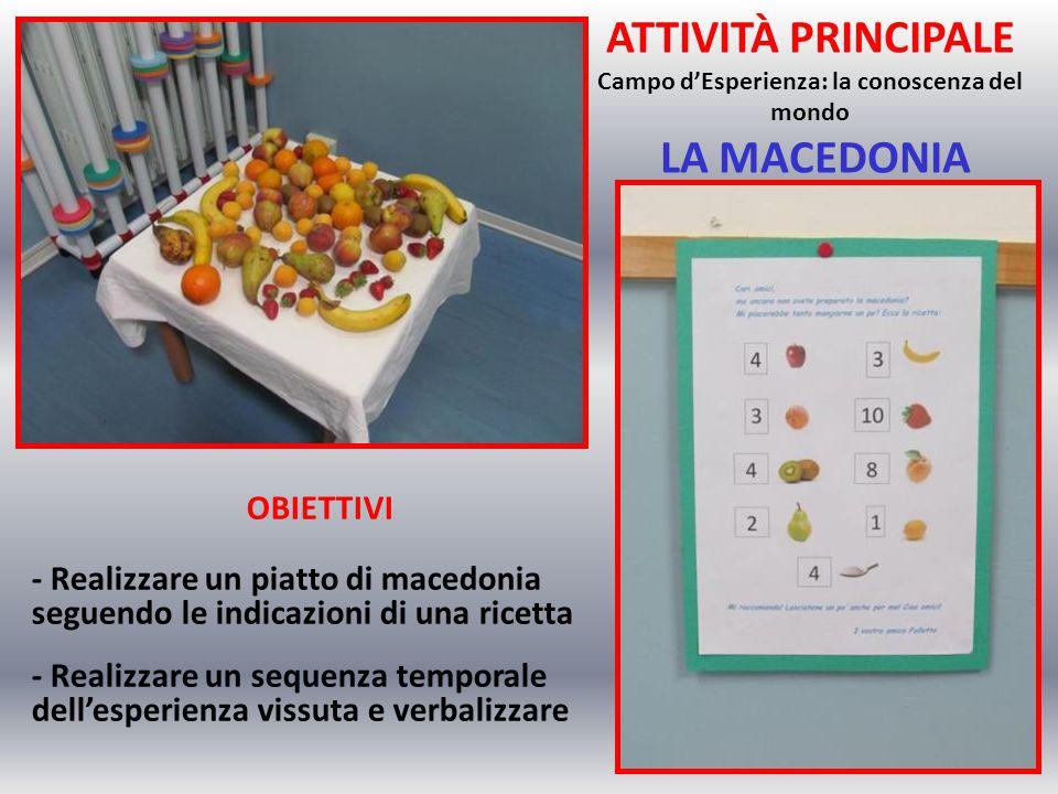 ATTIVITÀ PRINCIPALE Campo d'Esperienza: la conoscenza del mondo LA MACEDONIA