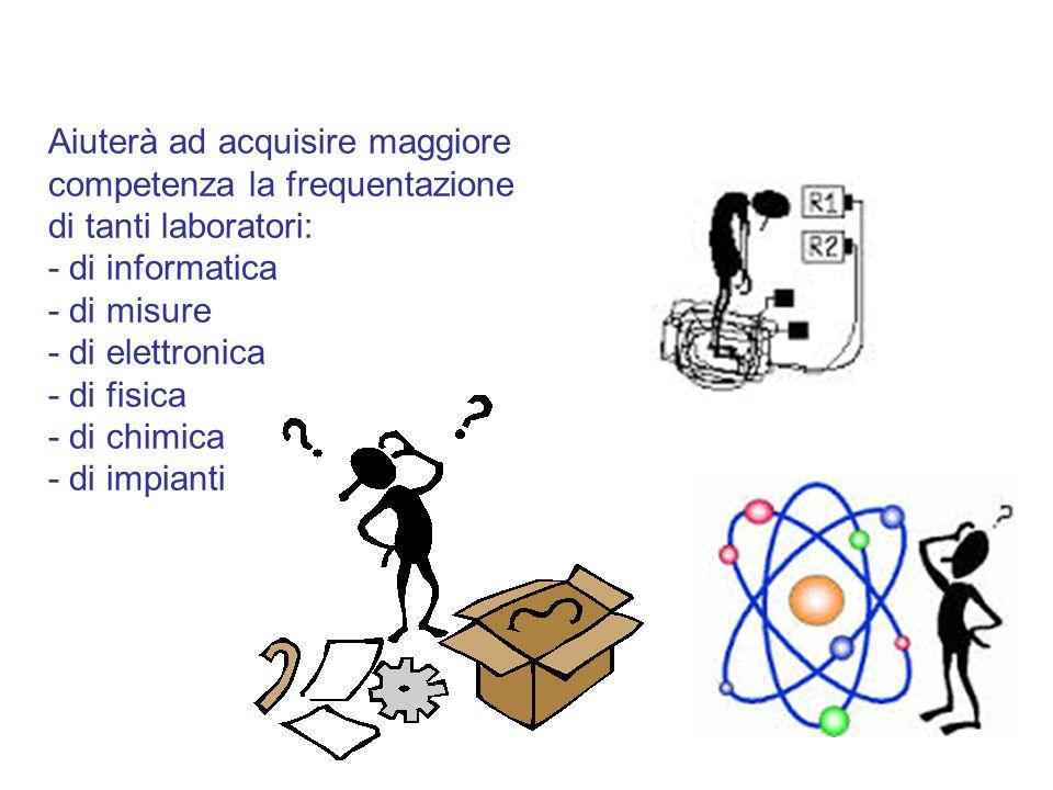 Aiuterà ad acquisire maggiore competenza la frequentazione di tanti laboratori: - di informatica - di misure - di elettronica - di fisica - di chimica - di impianti