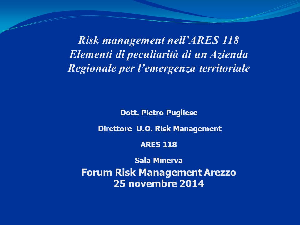 Risk management nell'ARES 118