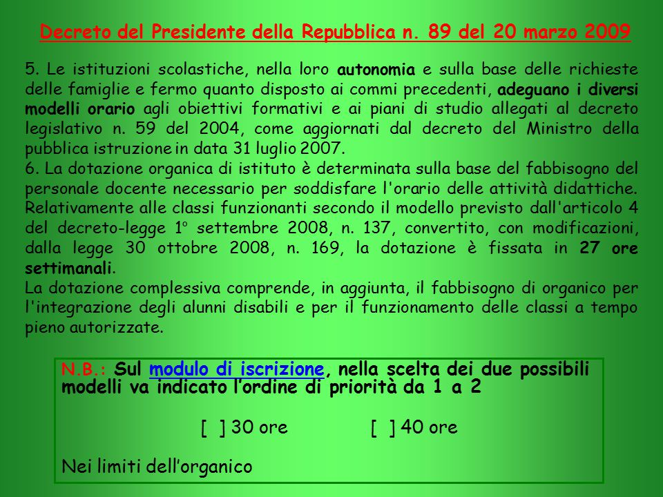 Decreto del Presidente della Repubblica n. 89 del 20 marzo 2009