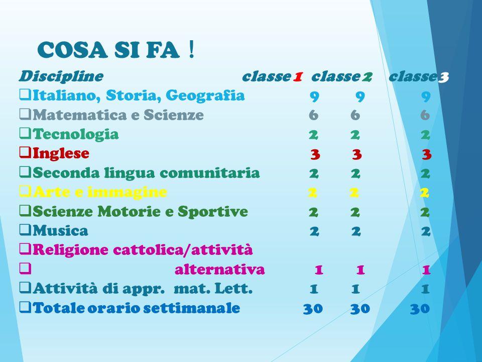 COSA SI FA ! Discipline classe 1 classe 2 classe 3