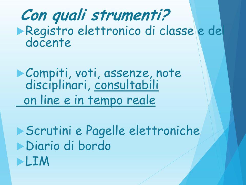 Con quali strumenti Registro elettronico di classe e del docente. Compiti, voti, assenze, note disciplinari, consultabili.