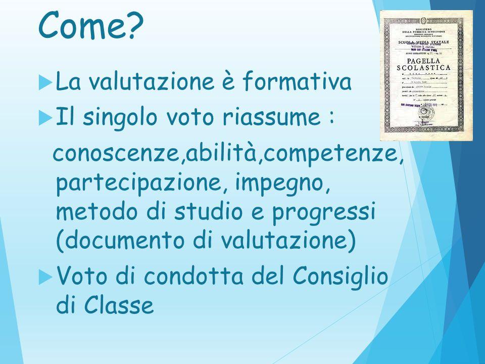 Come La valutazione è formativa Il singolo voto riassume :