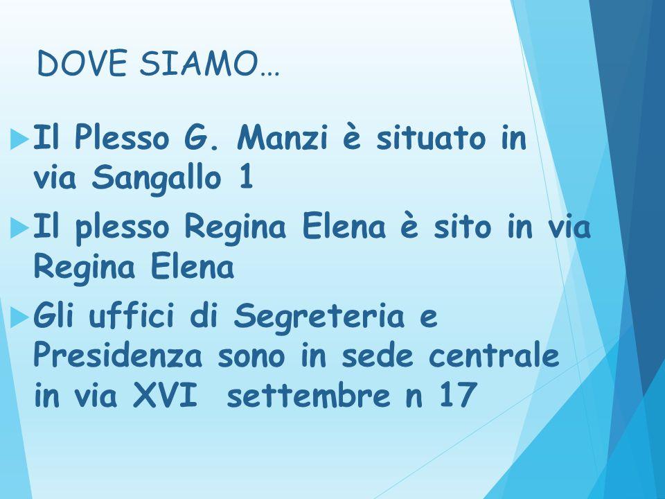 DOVE SIAMO… Il Plesso G. Manzi è situato in via Sangallo 1. Il plesso Regina Elena è sito in via Regina Elena.