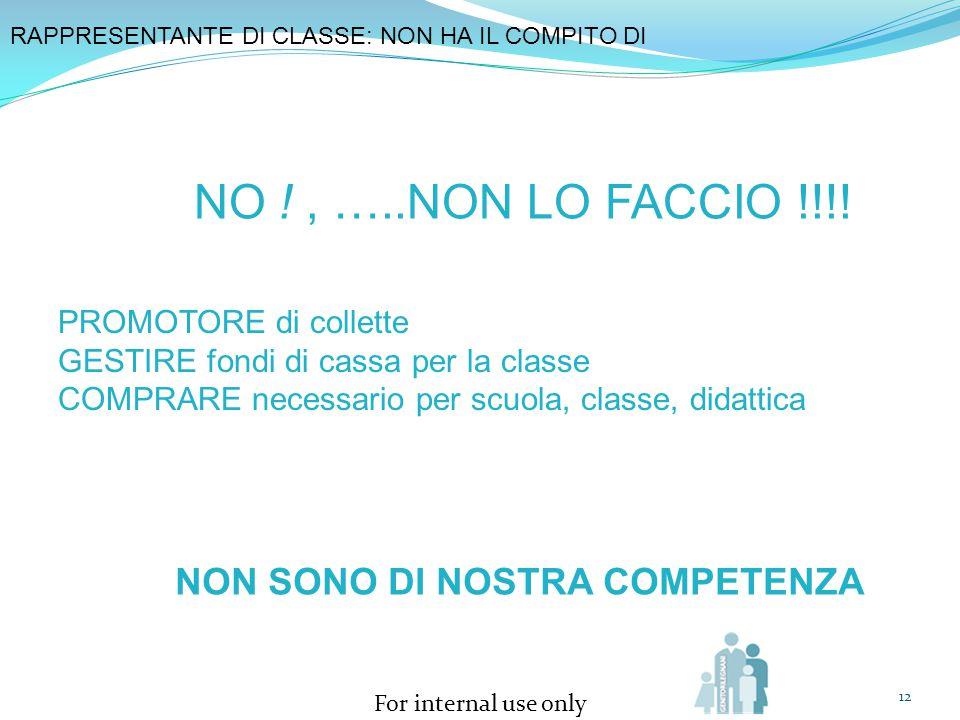 NO ! , …..NON LO FACCIO !!!! NON SONO DI NOSTRA COMPETENZA