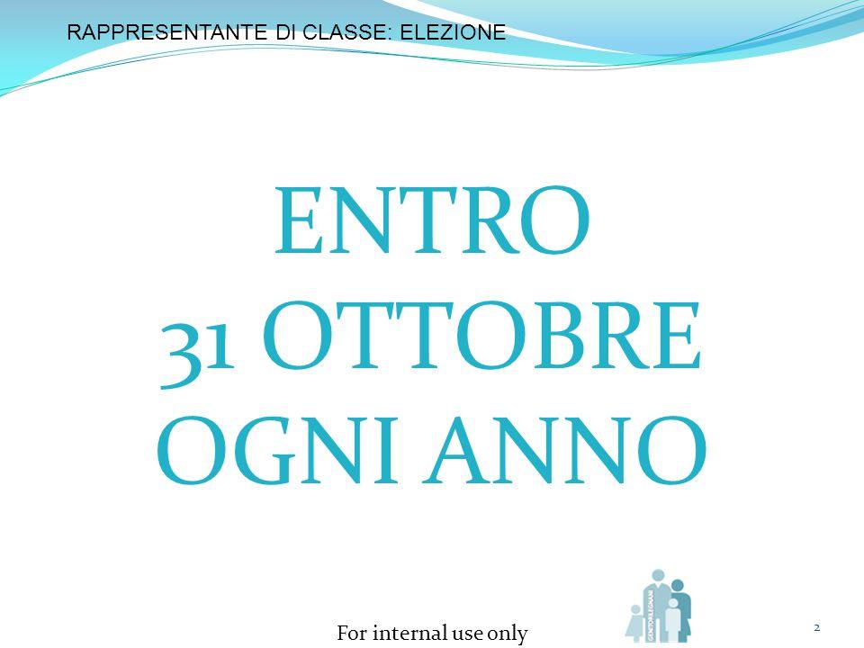 ENTRO 31 OTTOBRE OGNI ANNO RAPPRESENTANTE DI CLASSE: ELEZIONE