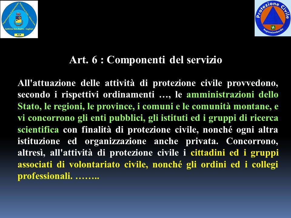 Art. 6 : Componenti del servizio