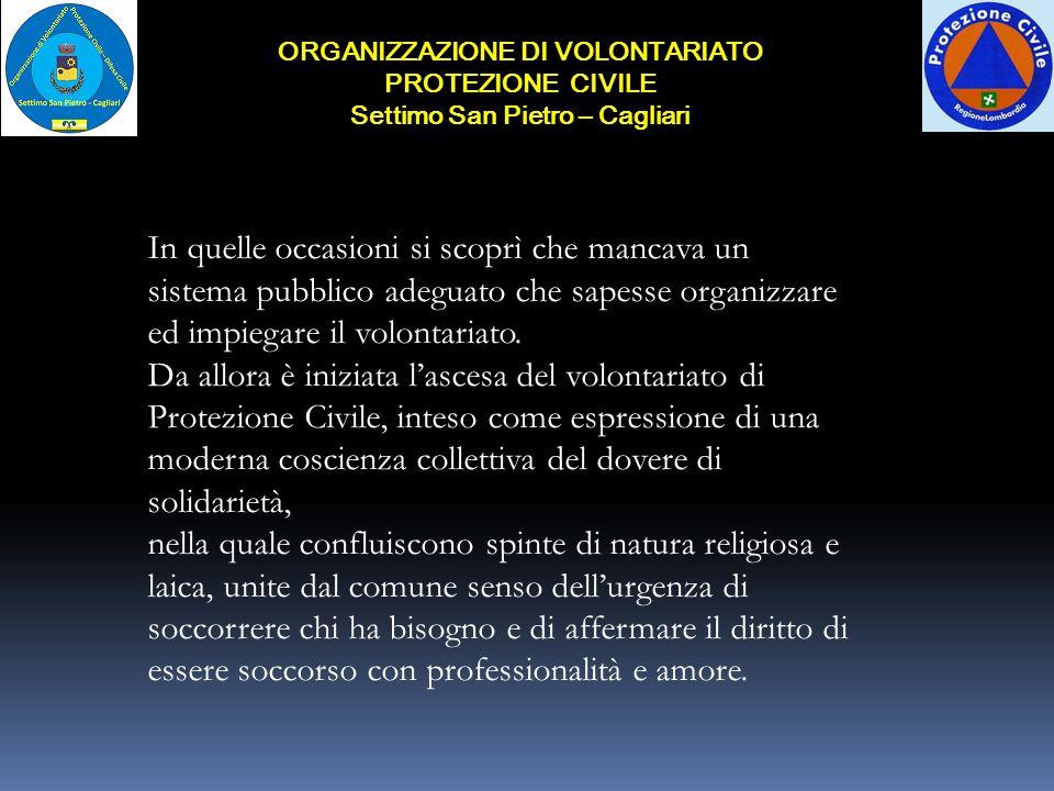 ORGANIZZAZIONE DI VOLONTARIATO Settimo San Pietro – Cagliari