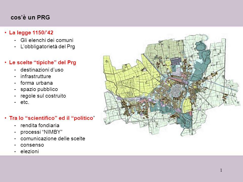 cos'è un PRG La legge 1150/'42 Gli elenchi dei comuni