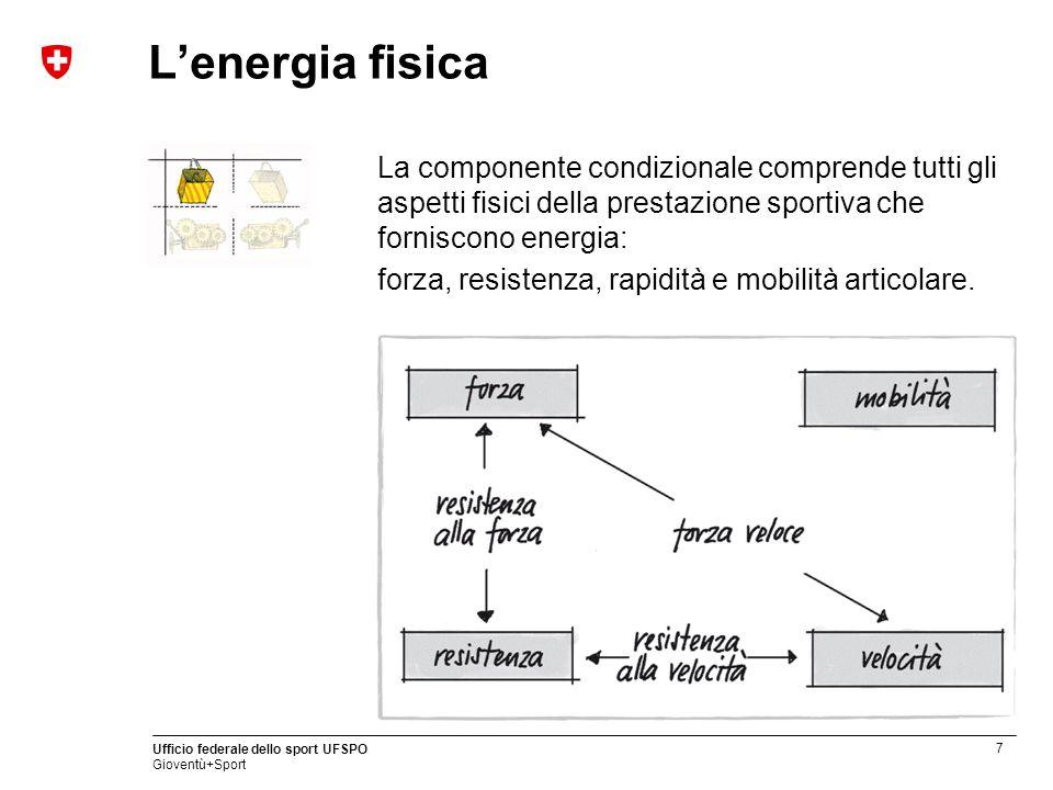 L'energia fisica La componente condizionale comprende tutti gli aspetti fisici della prestazione sportiva che forniscono energia: