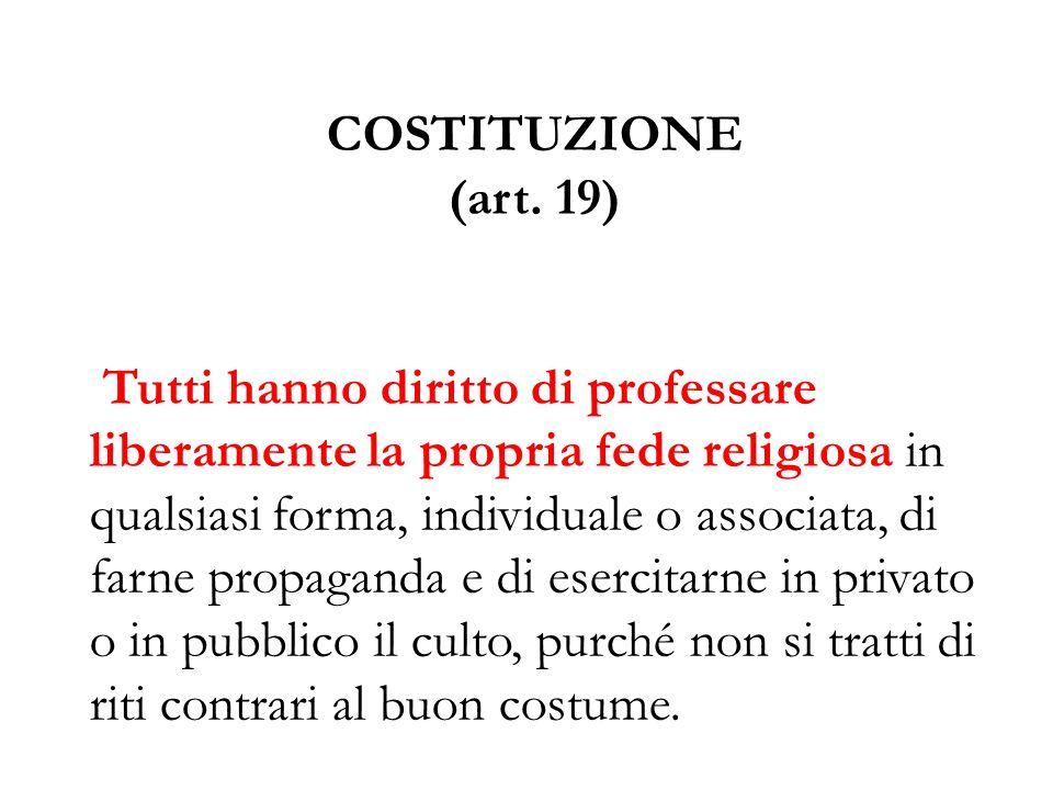 COSTITUZIONE (art. 19)