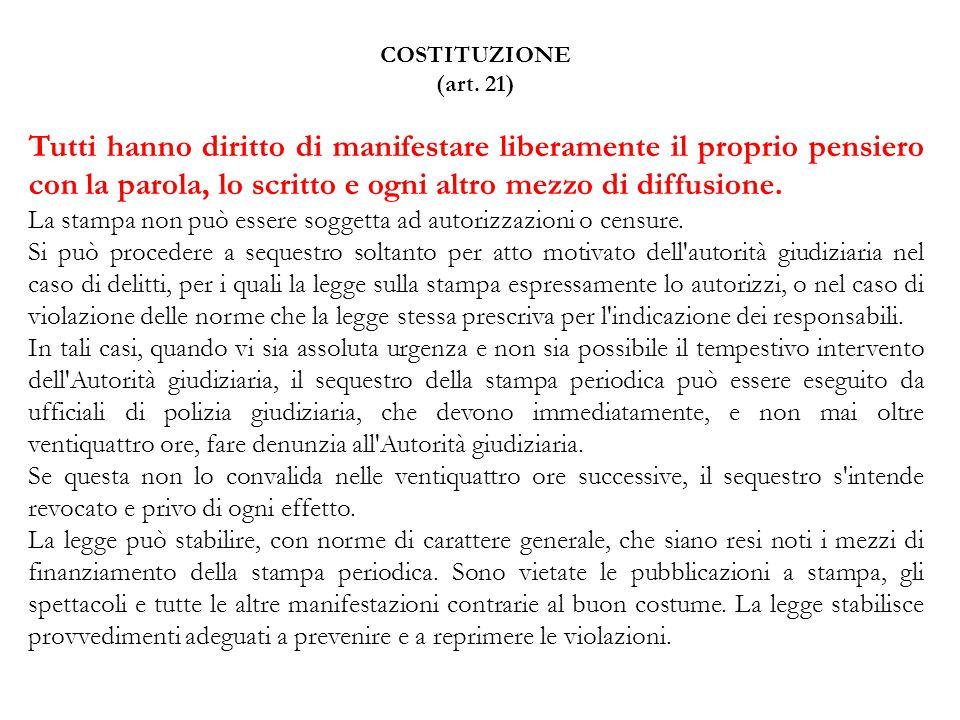 COSTITUZIONE (art. 21)