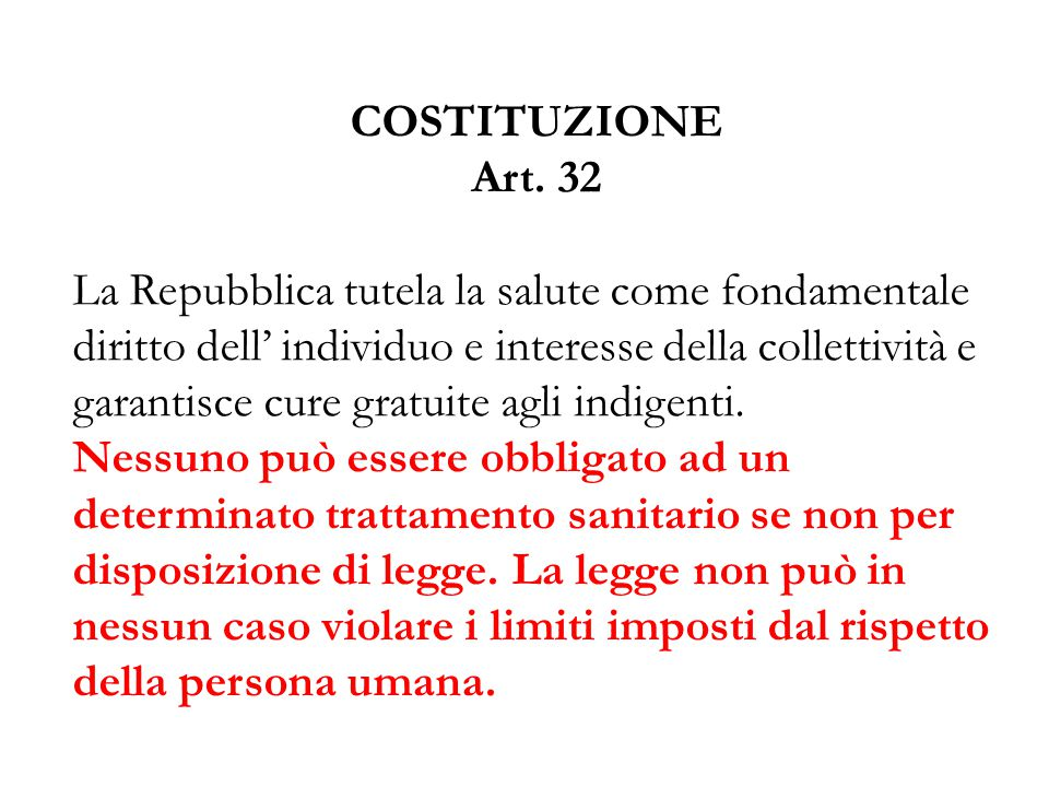 COSTITUZIONE Art. 32.