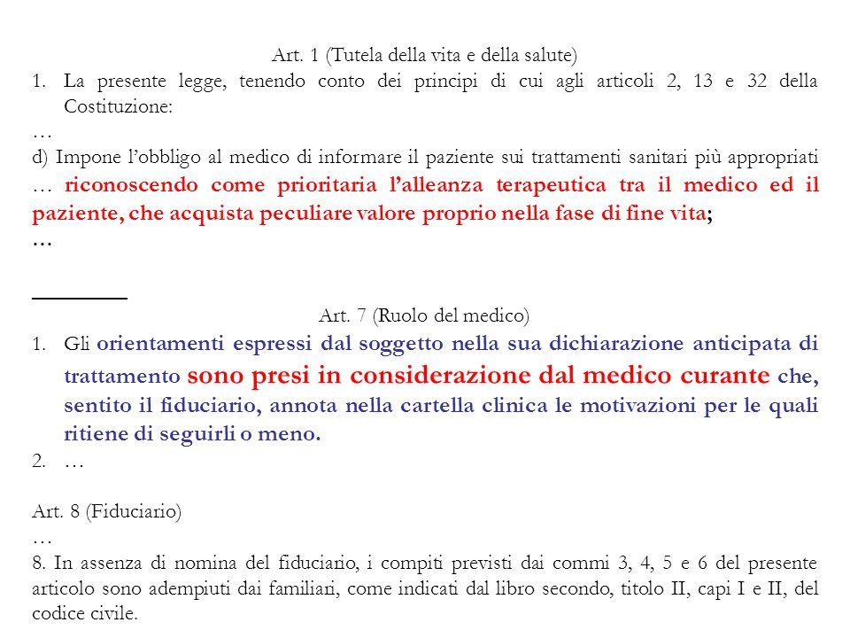 Art. 1 (Tutela della vita e della salute)