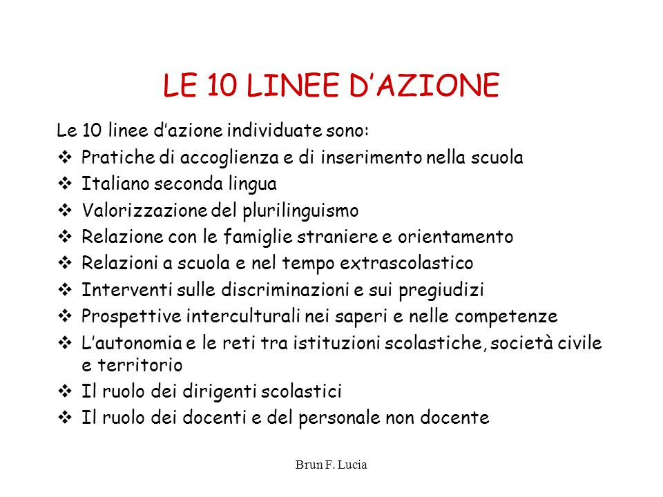 LE 10 LINEE D'AZIONE Le 10 linee d'azione individuate sono: