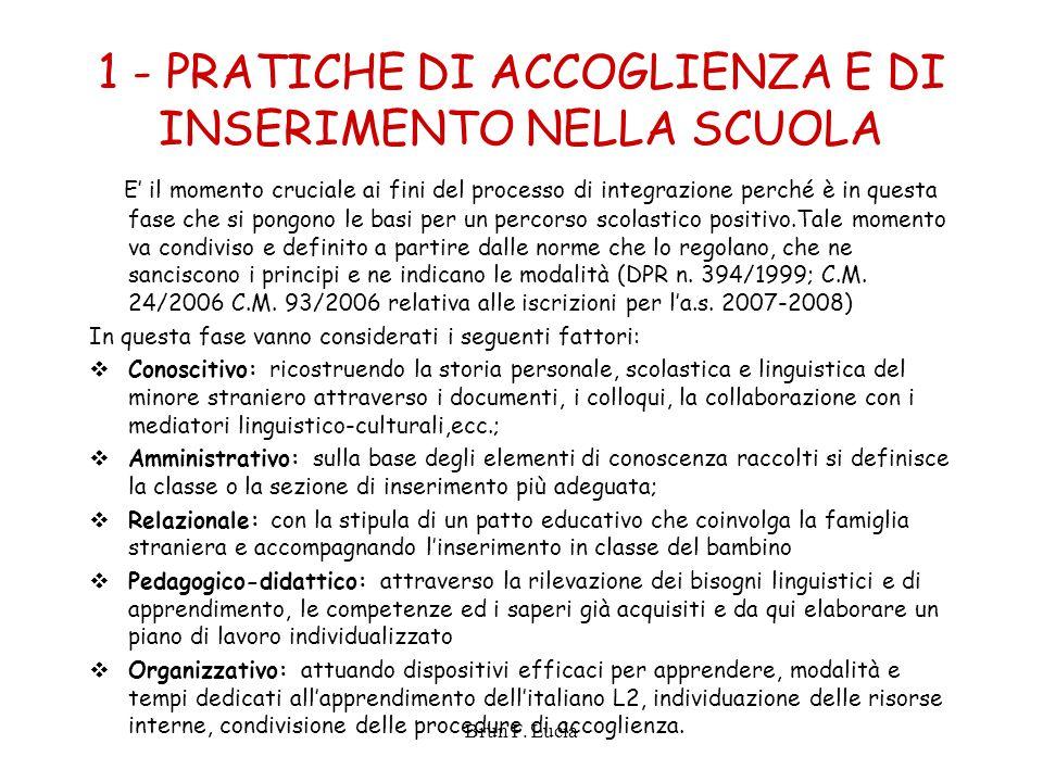 1 - PRATICHE DI ACCOGLIENZA E DI INSERIMENTO NELLA SCUOLA