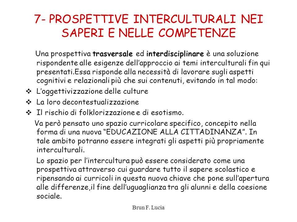 7- PROSPETTIVE INTERCULTURALI NEI SAPERI E NELLE COMPETENZE