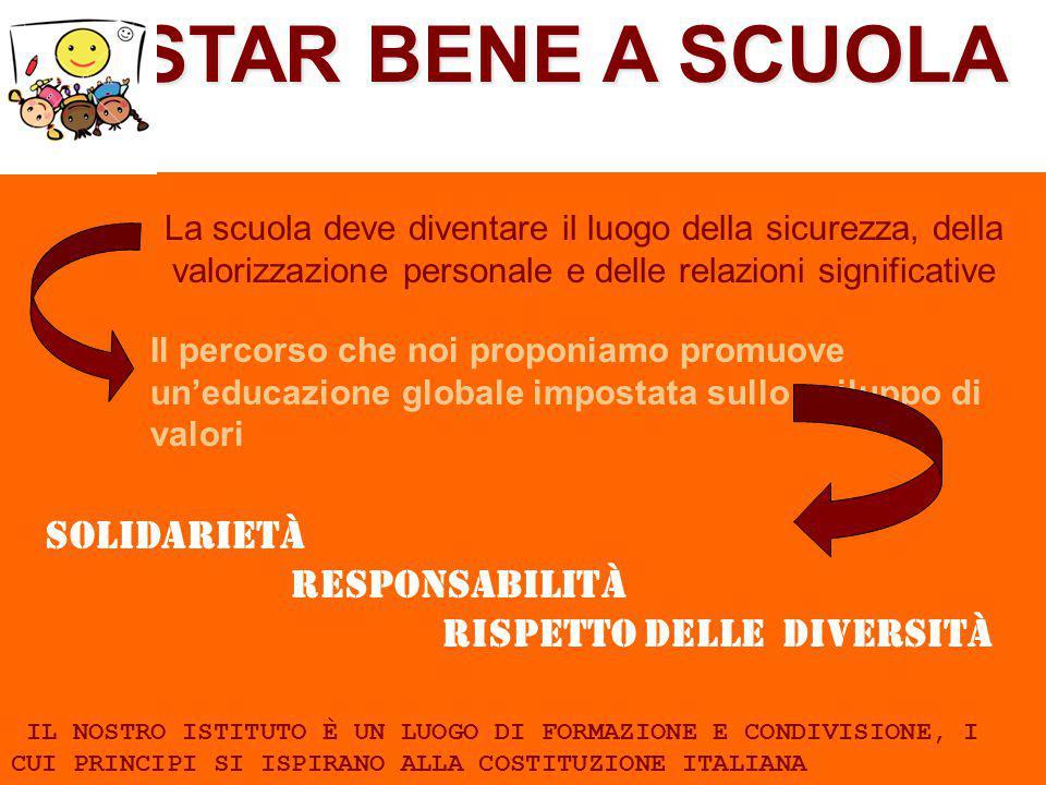 STAR BENE A SCUOLA SOLIDARIETÀ RESPONSABILITÀ RISPETTO DELLE DIVERSITÀ