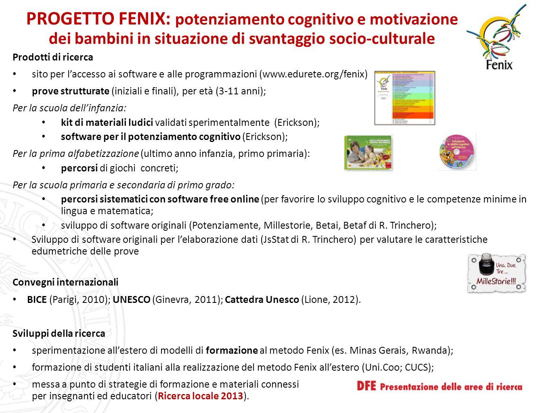 PROGETTO FENIX: potenziamento cognitivo e motivazione dei bambini in situazione di svantaggio socio-culturale