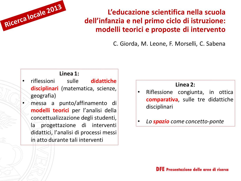 L'educazione scientifica nella scuola dell'infanzia e nel primo ciclo di istruzione: modelli teorici e proposte di intervento