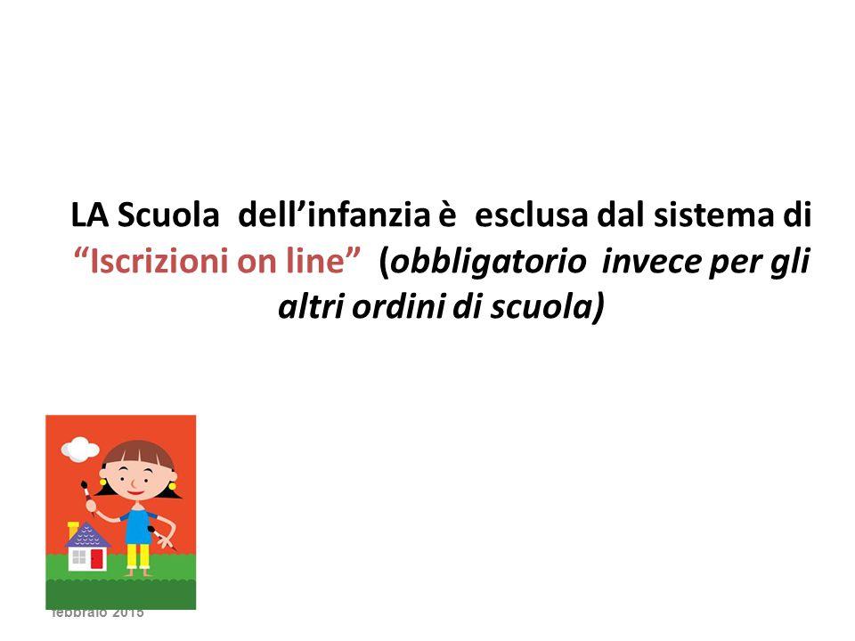 LA Scuola dell'infanzia è esclusa dal sistema di Iscrizioni on line (obbligatorio invece per gli altri ordini di scuola)