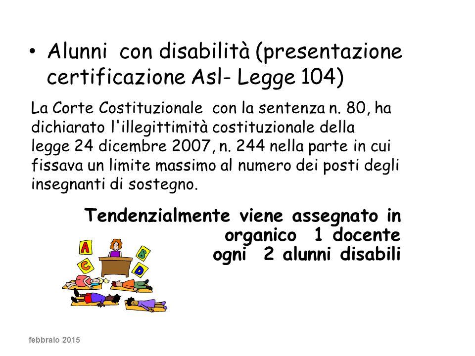 Alunni con disabilità (presentazione certificazione Asl- Legge 104)