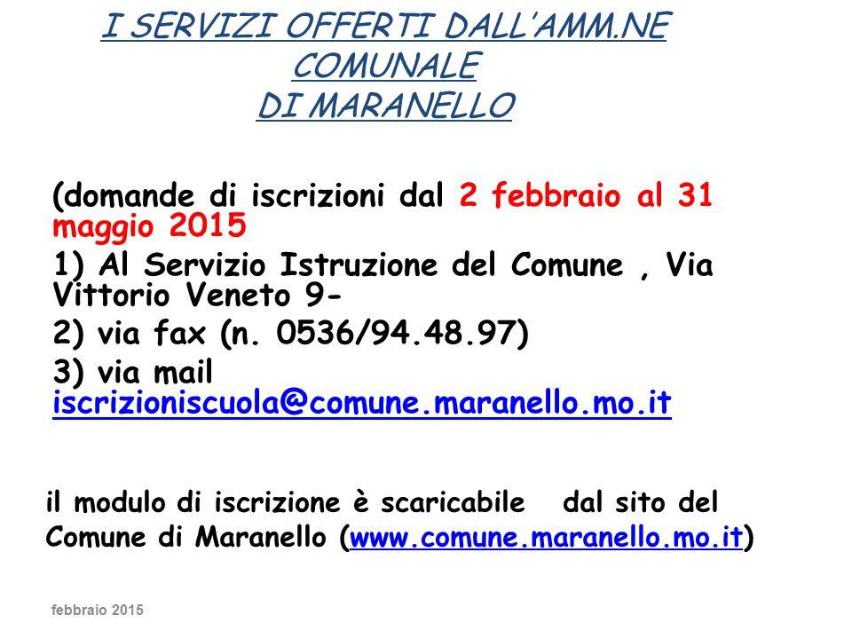 I SERVIZI OFFERTI DALL'AMM.NE COMUNALE di Maranello