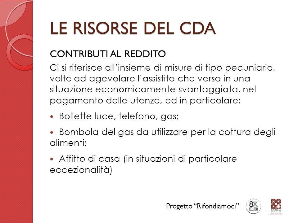 LE RISORSE DEL CDA CONTRIBUTI AL REDDITO