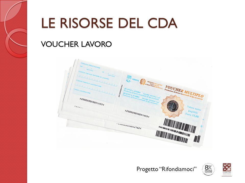 LE RISORSE DEL CDA VOUCHER LAVORO Progetto Rifondiamoci