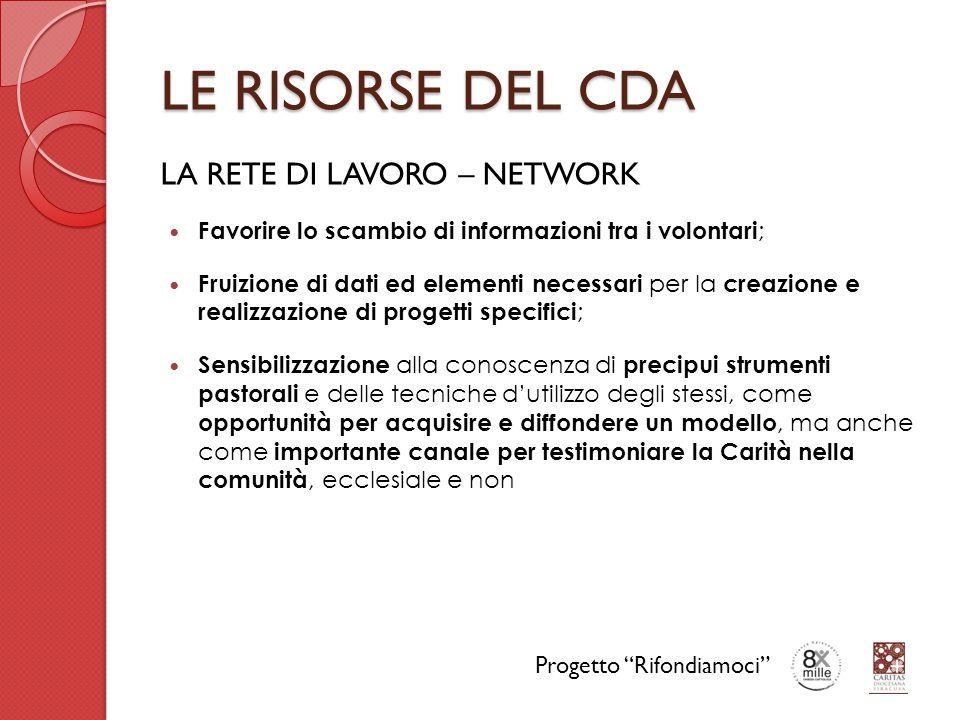 LE RISORSE DEL CDA LA RETE DI LAVORO – NETWORK