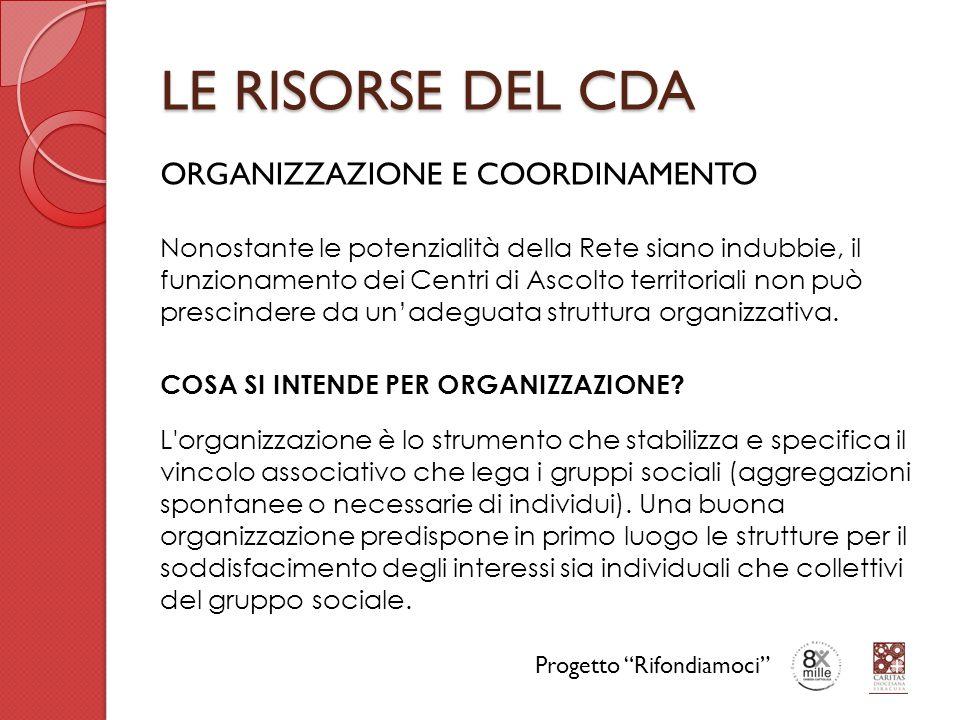 LE RISORSE DEL CDA ORGANIZZAZIONE E COORDINAMENTO