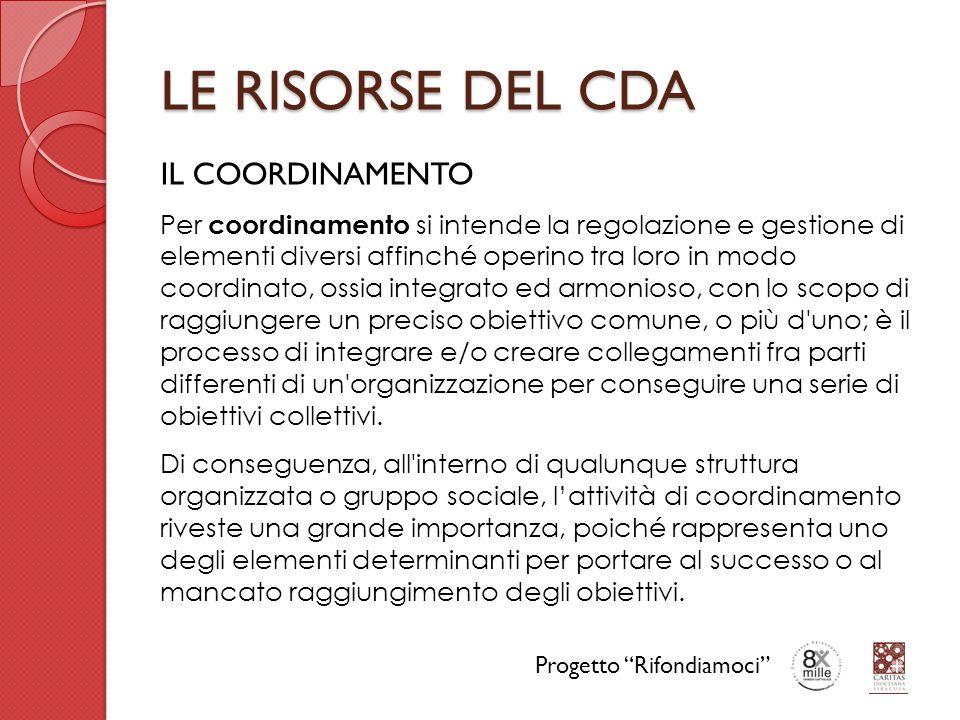 LE RISORSE DEL CDA IL COORDINAMENTO