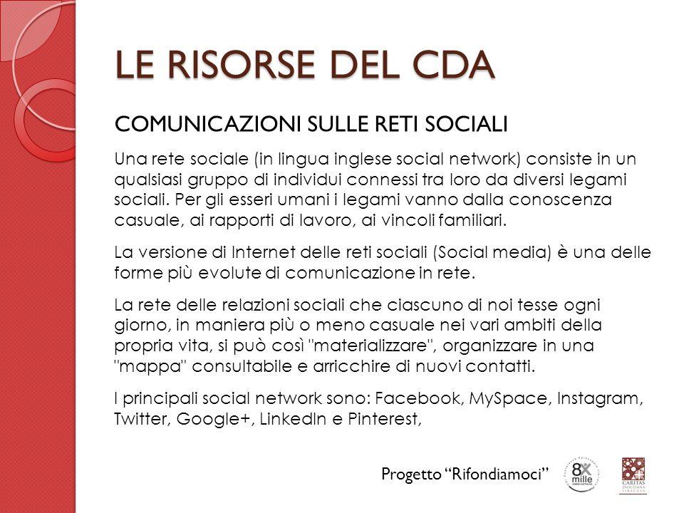 LE RISORSE DEL CDA COMUNICAZIONI SULLE RETI SOCIALI