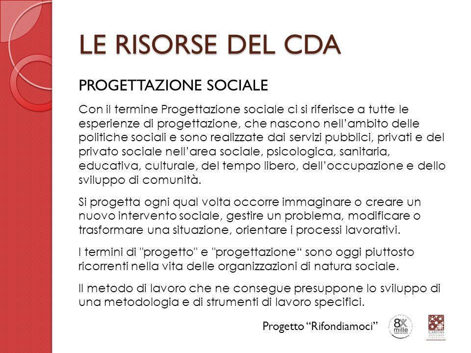 LE RISORSE DEL CDA PROGETTAZIONE SOCIALE