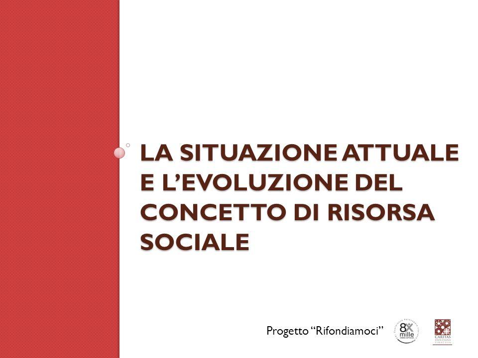 LA SITUAZIONE ATTUALE E L'EVOLUZIONE DEL CONCETTO DI RISORSA SOCIALE